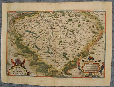 Czech Republic Bohemia 1570 Ortelius Scarce Antique Original Copper Engraved Map