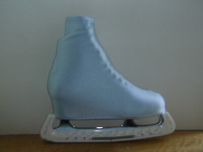 Light Blue Ice Roller Skate Skating Boot Covers Adult Size 3-5 Shiny Lycra