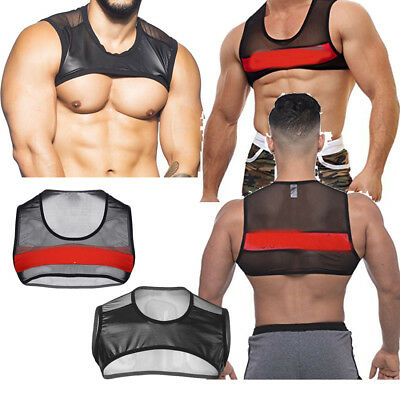 Men's Mesh Top T-Shirt Clubwear Fishnet See-through GYM Muscle Tank Undershirt