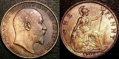 1902 Very High Grade LOW TIDE Ed VII Penny Slabbed CGS 60 (EF - Extremely Fine)
