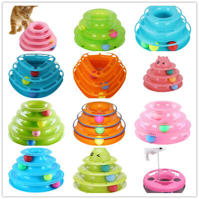 UK Pet Cat Kitten Crazy Ball Disk Interactive Toy Amusement Plate Trilaminar Toy