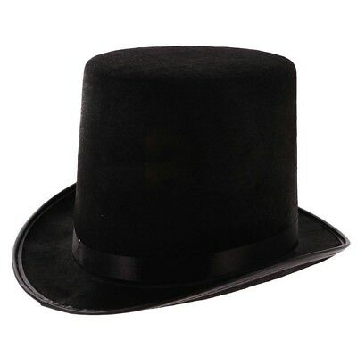New Fashion Satin Magician Butler Formal Costume Top Hat Black