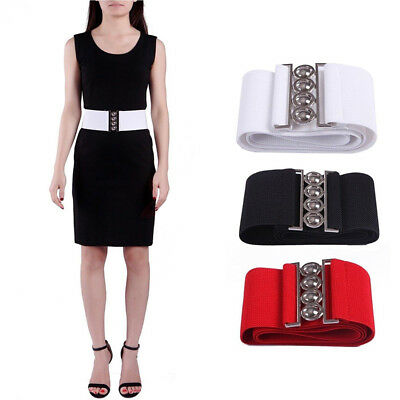"Women's Fashion Elastic Cinch Belt 3"" Wide Stretch Waist Band Clasp Buckle"