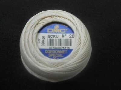 DMC Cordonnet Special Crochet Thread Size 20 Colour Ecru 20g ball Lot No.320450