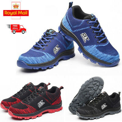 Mens summer Safety Shoes Steel Toe Fashion Work Boots Breathable Hiking Climbing