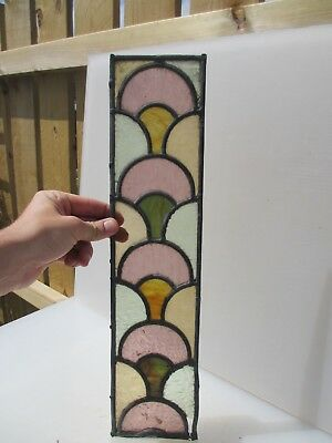 """Antique Stained Glass Window Panel Old Antique Leaded Victorian   18.5"""" x 4.5"""""""