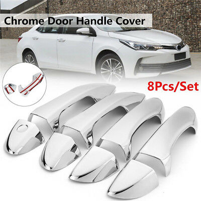 8 Pcs Car Modification Chrome Side Door Handle Cover Trim For Toyota Corolla