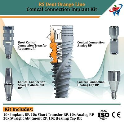 10x Dental Implant Conical Connection Full Set Active Hex Nobel Active RP CE ISO