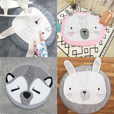 Large Soft Cotton Baby Kids Game Cartoon Play Mat Crawling Blanket Floor Rug NEW