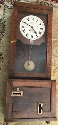 ANTIQUE SOLID OAK 1950's GLEDHILL FUSEE CLOCKING IN MACHINE WALL CLOCK No 84311