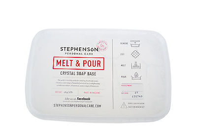 Clear Standard Melt and Pour Soap Base Stephensons Cosmetic Making Clam Pack