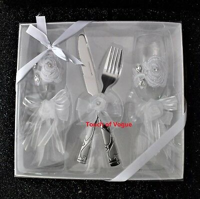 lace bow Wedding Cake knife fork glasses Serving Set  cutlery diamante bridal