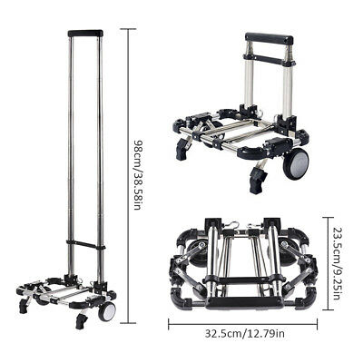 Folding Luggage Cart Rolling Shopping Carts Portable Hand Truck Trolley Black