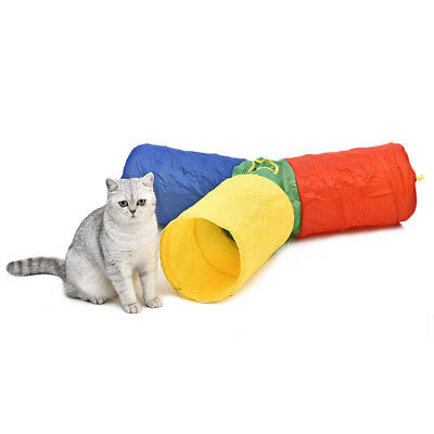 3-Color Cat Dog Pup Tunnel Kitten Rabbit Guinea Collapsible 3 Way Toy With Ball