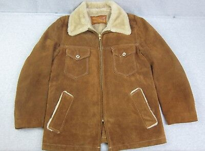 Vintage Mens William Barry Brown Suede Leather Jacket Coat Size 40 Sherpa USA