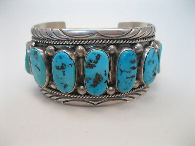 BIG Navajo Sterling Silver & Turquoise Cuff Bracelet