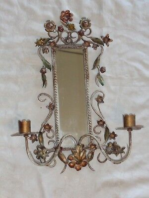 Vintage Tole Floral Wall Candleholder Sconce Mirror Estate Find