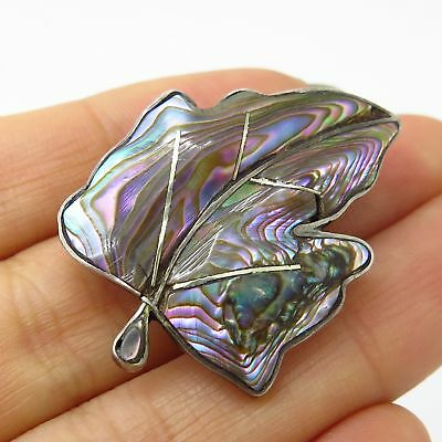 Vtg Mexico 925 Sterling Silver Abalone Shell Leaf Design Pin Brooch