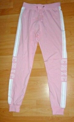 Bnwt  Womens New Look Size 8 Pink & White Chic Slogan Panel Joggers