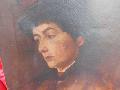 Lovely Antique 19Th Century Oil On Canvas Portrait Painting Of A Lady Woman