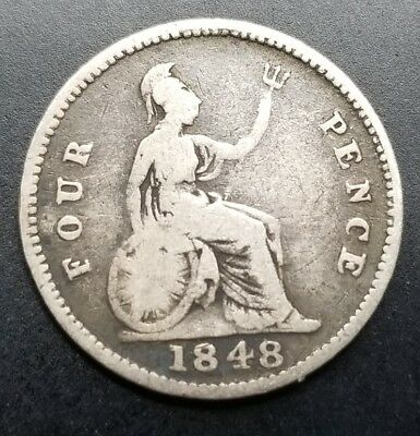 Great Britain 1848 4 Pence Silver Coin [AK622]