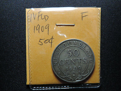 1909 50 Cent Coin Canada Edward VII Newfoundland Fifty Cents .925 Silver F