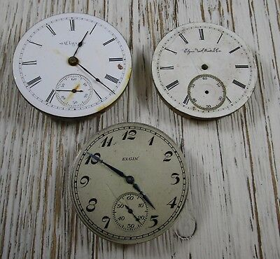 Pocket Watch Movements Lot of 3 Elgin Antique Vintage Parts Repair Only
