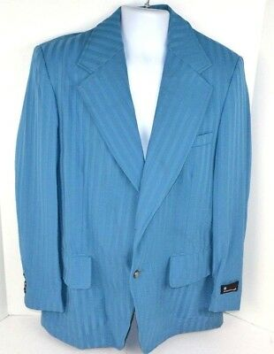 Vtg 1970's Envoy Men's Double Knit Polyester Solid Blazer Sport Coat, Blue 42 R