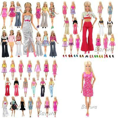 BARWA Lot 20 = 10 Set Fashion Handmade Clothes Outfit + 10 Pairs Shoes for Barbi