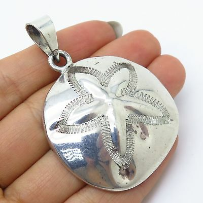 Vtg Mexico ATI 925 Sterling Silver Sand Dollar Design Large Hollow Pendant
