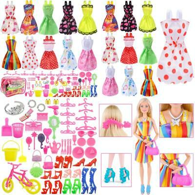 Total 66pcs - 10 Pack Clothes Party Gown Outfits for barbie dolls+ 55pcs Dolls A