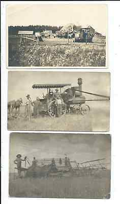 Lot of 9 RPPC & Printed Postcards All Farming Related Steam Tractors Threshing