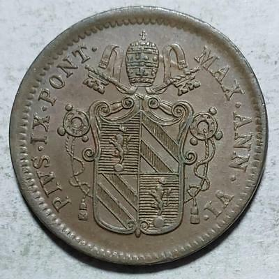 Papal States, 1/2 Baiocco, 1851 VIB, Choice Almost Uncirculated, Pius IX, Copper