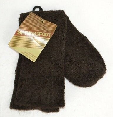 Vtg Springfoot Womens Thick & Fuzzy 75% Orlon Terry Lounge Socks, Brown 9-11