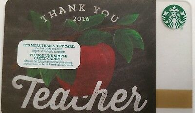 Starbucks Card, Thank You Teacher, Issued 2015, Series 6119                  (U)