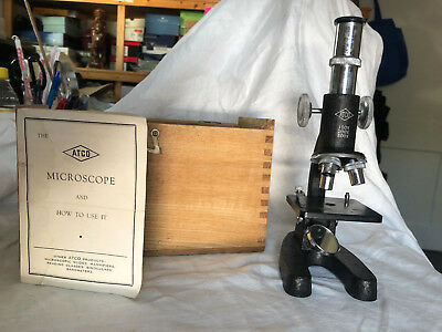 Vintage Atco Microscope with Wooden Box, Model 1377, 100x,200x,300x