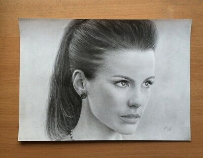 Kate Beckinsale Original Portrait Pencil Artwork - English Actress Drawing