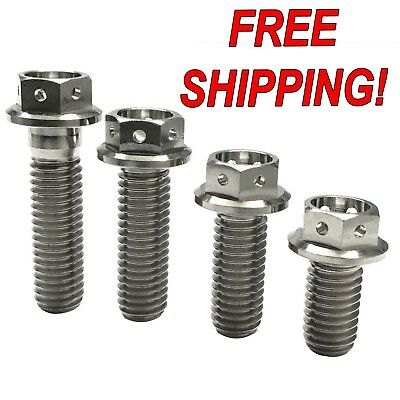 Titanium Race Spec Drilled Head Hex Flange Bolts M8x35 1.25 pitch