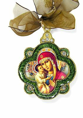 Jeweled Madonna and Child Icon Pendant Green With Bow Religious Gift