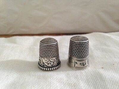 2 Antique Sterling Silver Thimbles~Size 9 & 10