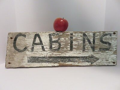 Hand Painted Old Primitive Wooden ~ Cabins ~ Sign, Aafa, No Reserve