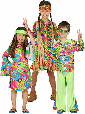 Child Hippy Costume Boys Girls Hippie Fancy Dress Kids 60s 70s Book Week Outfit