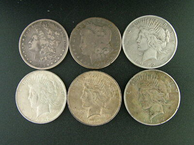 Us Silver Dollars 90% Silver Lot Of 6 Mix Of Peace And Morgan
