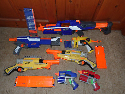 Nerf Gun Bundle Joblot Elite N-Strike CS-18 Barrel Break Ammo Magazine CS-12