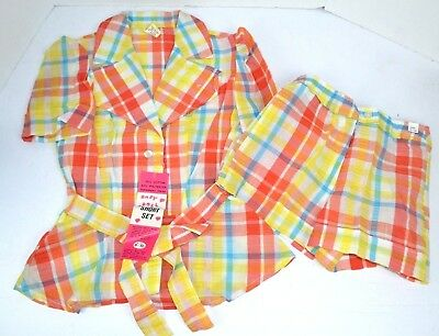 Vtg 1970's Women's Baby Doll 2pc Madras Plaid Shirt Short Shorts Set, Size 9/10
