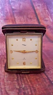 Vintage Old Retro IMHOF Swiss Travel Clock Genuine Leather Collectible