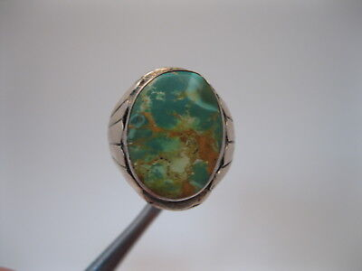 BIG Vintage Navajo Sterling Silver Ring w Green Turquoise sz12