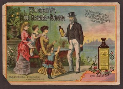 Fahrney's Blood Cleanser Or Panacea. Large Victorian Advertising Trade Card