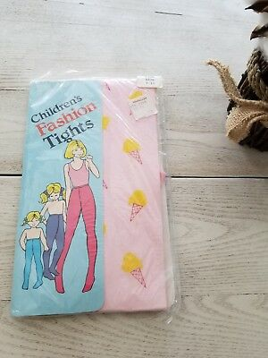 Vintage  Girls  Ice Cream Cone Nylon Fashion Tights 7-10 years old. Pink