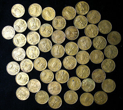 Lot of 50 India 20 Paise 1968-1971